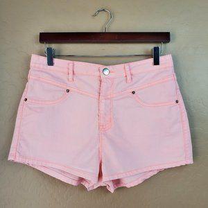 Forever 21 High Rise Neon Orange Denim Shorts